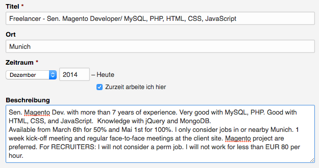 LinkedIn Beispiel aktueller Job
